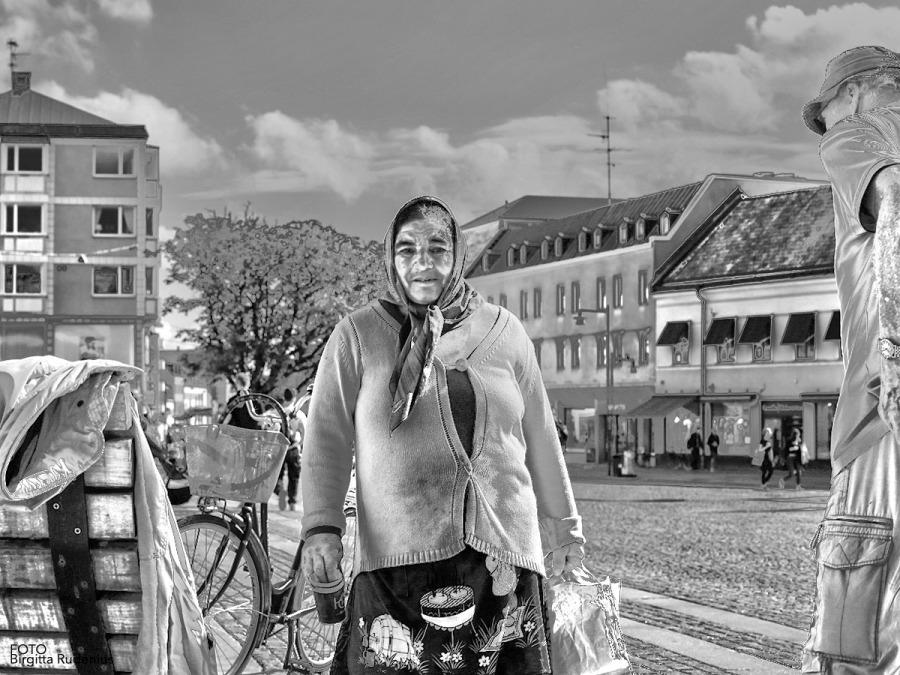 A begging woman in Lund, Sweden